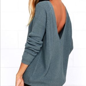 Just For You Slate Blue Backless Sweater
